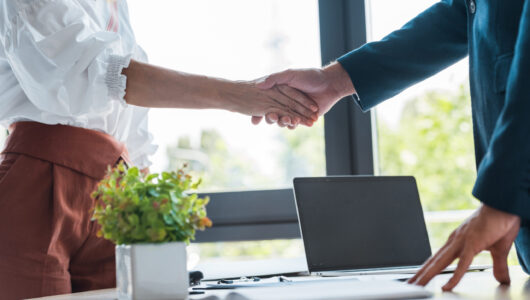 selective focus of employee and recruiter shaking hands near green plant