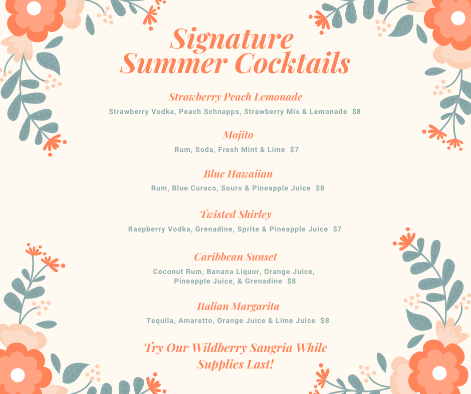 Happy hour and Summer Drink Menu!