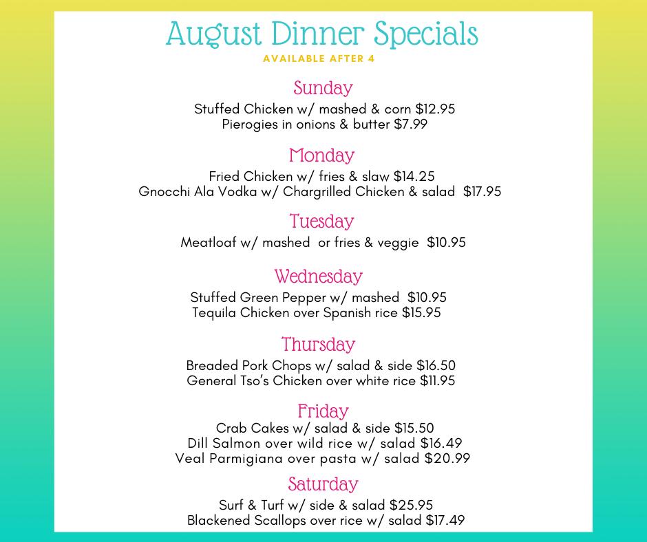 August Dinner Specials