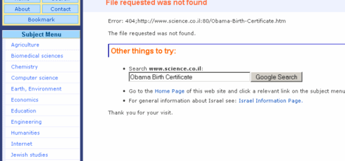 Israeli Science Website Scrubs Article Claiming Obama Birth Certificate Forgery