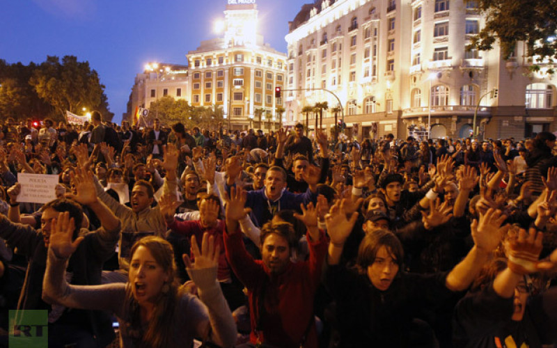 NO Banker Bailout! Thousands Flood Madrid Spain Demanding Government Resigns