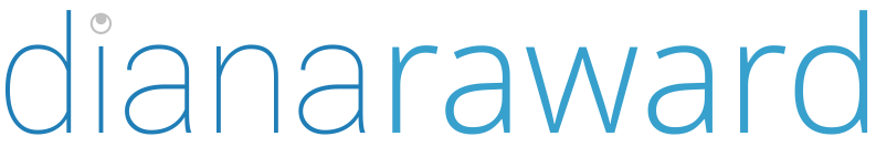 The name Diana Raward in lower case is presented in full on a single line. Above the letter I is abstract design of a crescent moon facing upwards cut out of a larger circle. Displayed in 4 colours; dark grey, light grey, dark blue, and light blue.