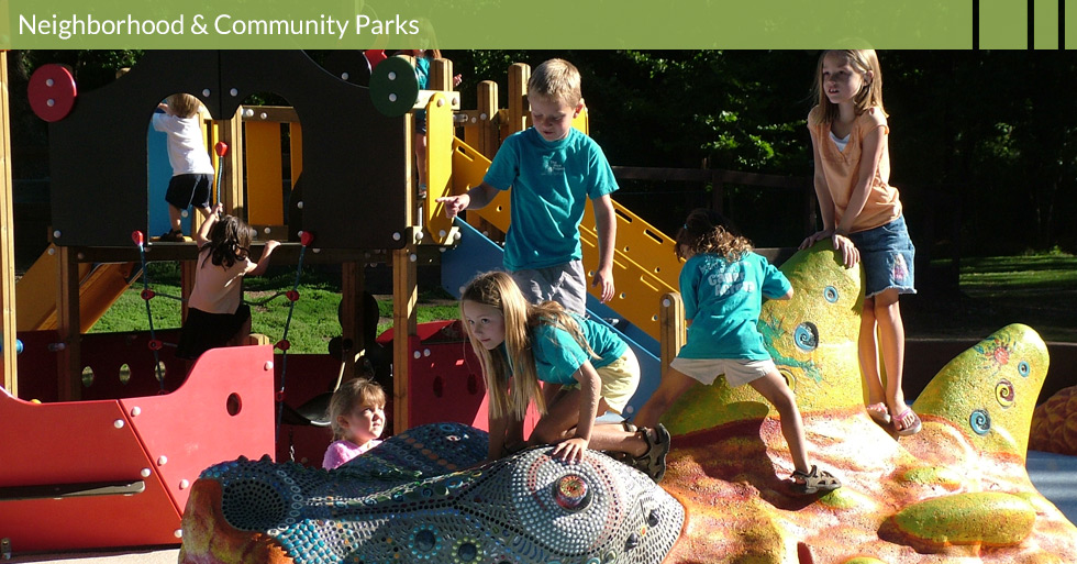 Melton Design Group designed the unique park at Caper Acres in Chico, CA.  Artistic features and creative play structures enhance the neighborhood park located within Bidwell Park.