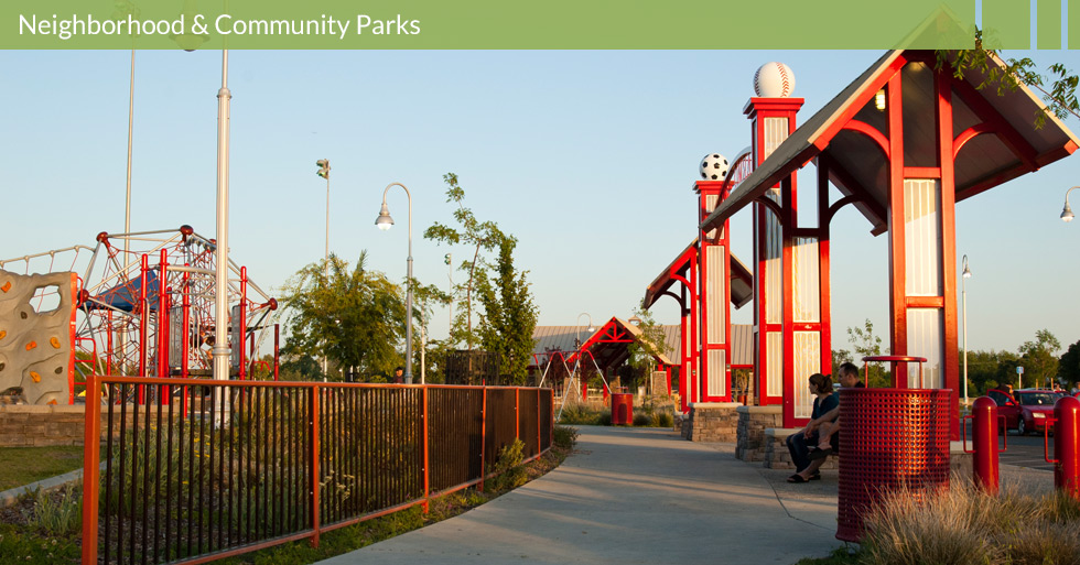 Melton Design Group designed Degarmo Park in Chico, CA.  This neighborhood park features, soccer fields, baseball fields, play structures, picnic areas, walking paths and unique shade structures.
