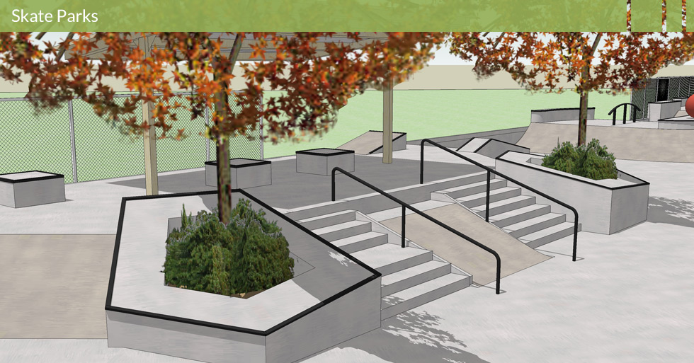 Melton Design Group, a landscape architecture firm, designed the Skate Park Plaza in Paradise, CA. With raised boxes, flat surfaces with angles, rails and stairs it is the perfect place for skating.