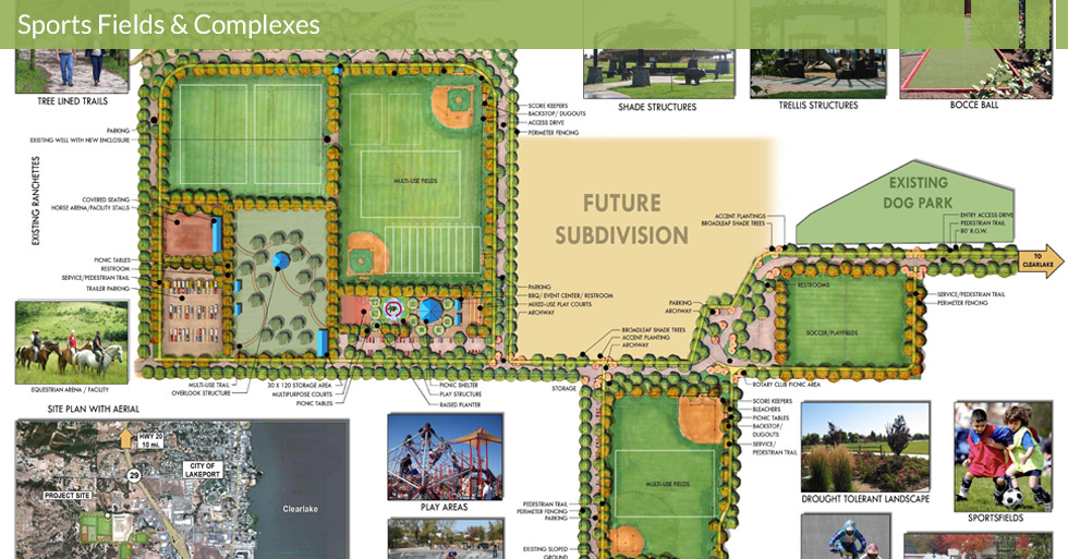 Melton Design Group, a landscape architecture firm, designed the Westside Community Park in Lakeport, CA. With multiple recreation fields, ample parking and green space complete with a dog park, shade structures, tree-lines trails and drought tolerant landscape.