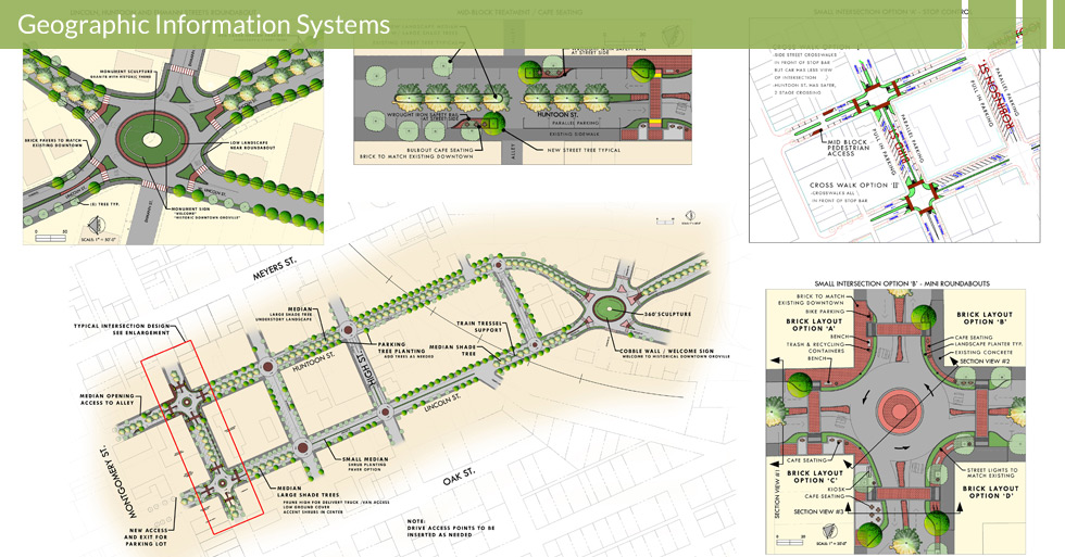 Melton Design Group, a landscape architecture firm, designed the Lincoln Huntoon in Oroville , CA. The designs included street tree and utility mapping and design including classic brink accents.