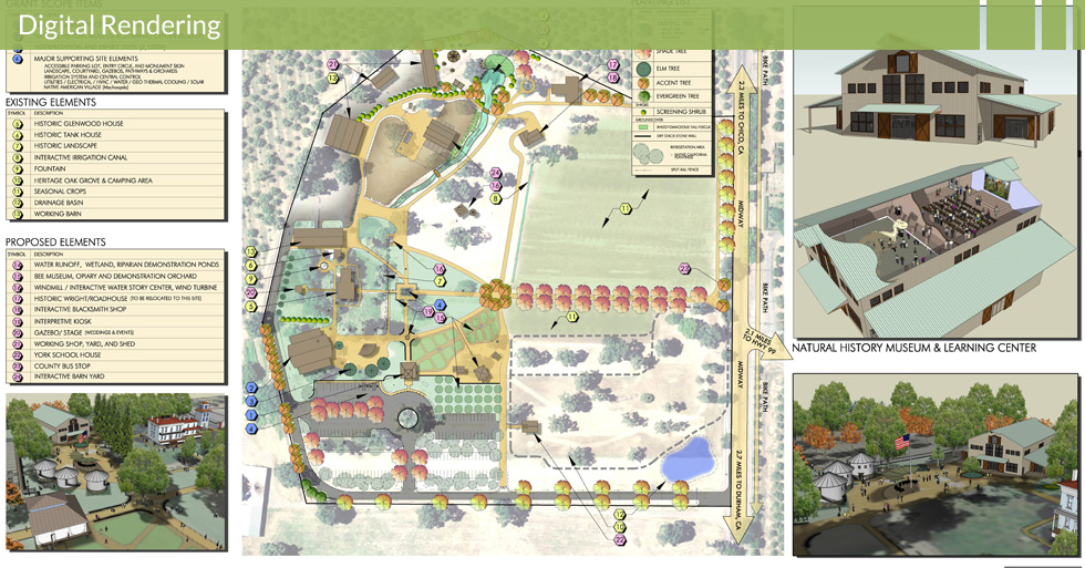 Melton Design Group designed the master plan for Patrick Ranch in Durham, CA. This digital rendering features the entry barn, winding paths, event areas, natural plantings, and a designated wedding venue.