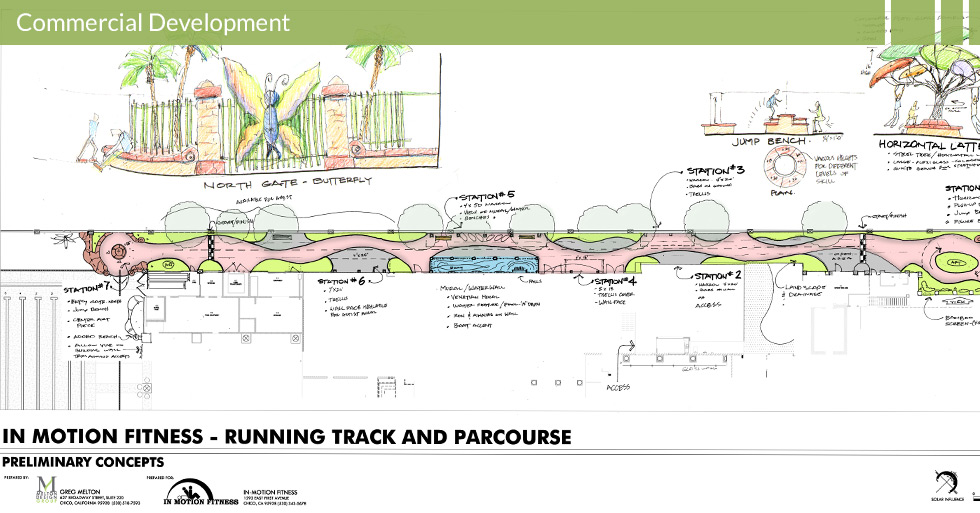 Melton Design Group, a landscape architecture firm, designed the running track and parcourse at In Motion Fitness in Chico, CA. Complete with a jump bench, different stations for workouts and a waterfall.