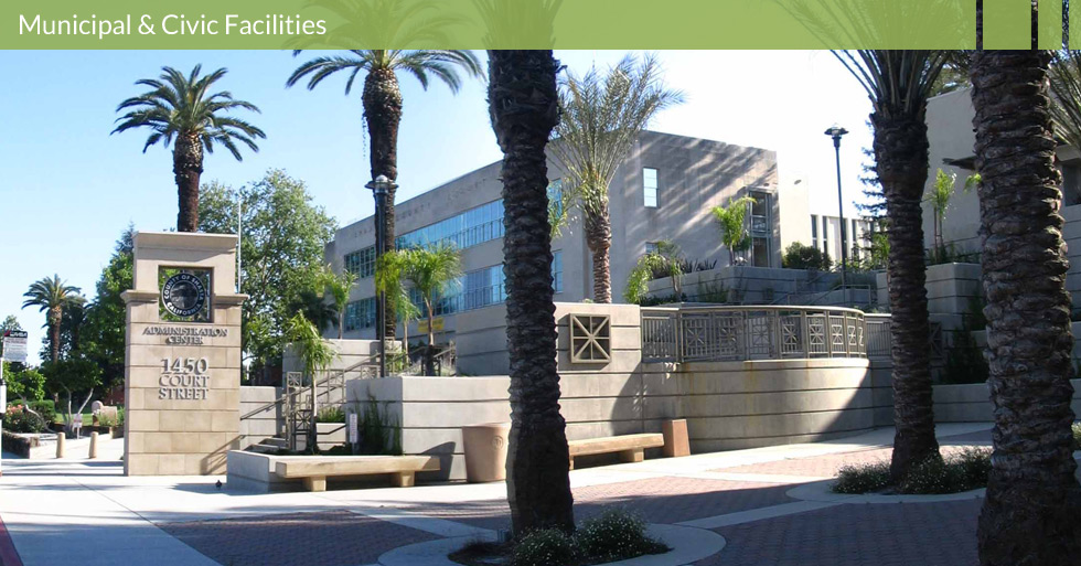 Melton Design Group, a landscape architecture firm, designed the Shasta County Administration Center in Redding, CA. Completed with beige color cement, tan stone, palm trees and a turf outdoor area.