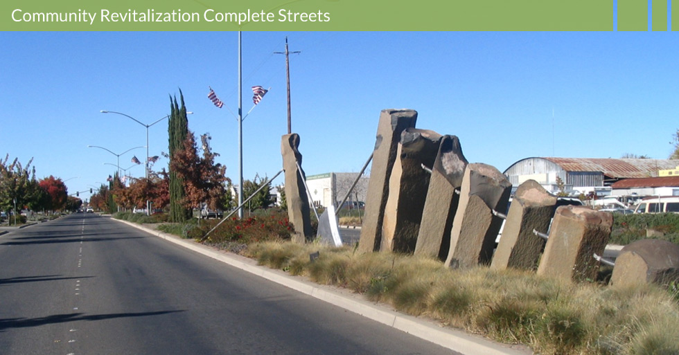 Melton Design Group designed the revitalization of Park Ave. in Chico, CA. Artistic sculptures, unique plantings, pedestrian walkways, expanded sidewalks, and large trees revitalized a much needed area in Chico.
