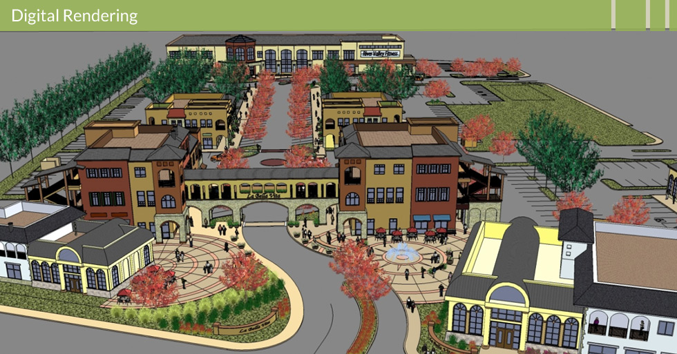 Melton Design Group designed the retail center at La Bella Vita in Yuba City, CA. This digital rendering depicts the street facing retail, unique facades, entry monument, tree-lined sidewalks, water features, outdoor café, and ample parking.