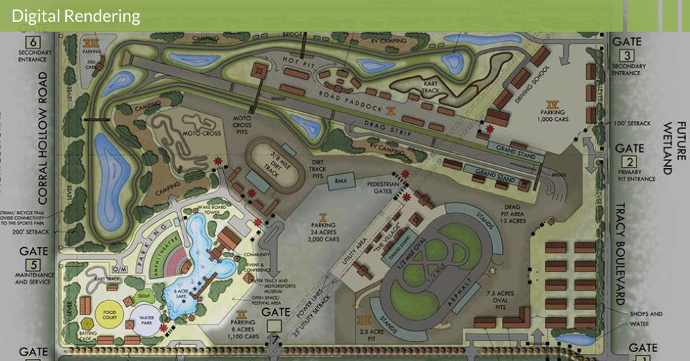 Melton Design Group master planned the community recreation area of Tracy Blast in Tracy, CA.  This digital rendering features designated camping and RV areas, amphitheater, man-made lake, moto-cross track, sports park, water park, and food courts.
