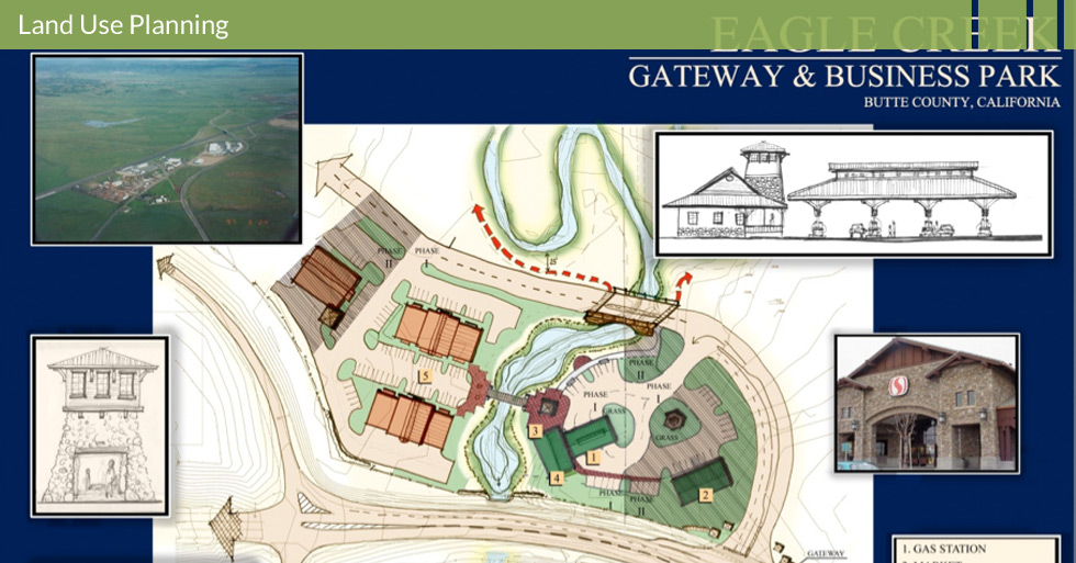 Melton Design Group designed the land use plan for Eagle Creek in Butte County, CA. This land use plan features a gas station, market, retail commercial, information center, and light industrial.