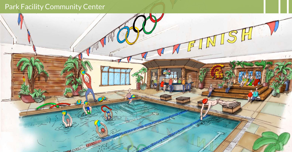Melton Design Group, landscape architecture firm designed a state-of-the-art Olympic Pool Aquatic Facility as an added feature to a popular community center.