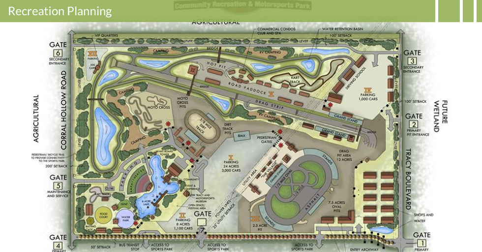 Melton Design Group, landscape architecture firm developed the conceptual master plan for Tracy Blast a monumental multi-use recreation area featuring a raceway, campgrounds, amphitheater, rv and tent camping, 6 acre lake, water park and food court, moto-cross track, go-kart track, and drag strip for weekend fun.