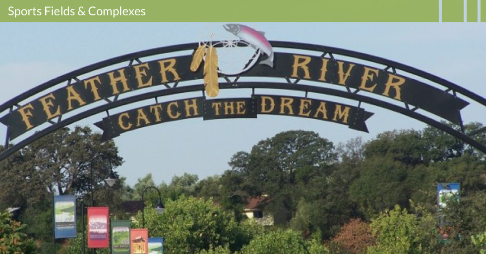 Melton Design Group designed Riverbend Park featuring soccer fields, shade structures, play structures, rock climbing walls, public dock access to the Feather River, disc golf course, entry monument signage, and artistic sculptures.