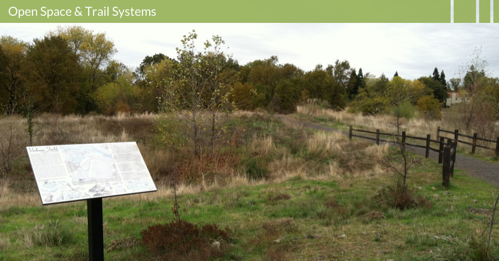 Melton Design Group designed the open space and trail system for Verbena Fields in Chico, CA. This open space features interpretative panels, native plantings, trails systems, natural dog areas, all in the center of town.