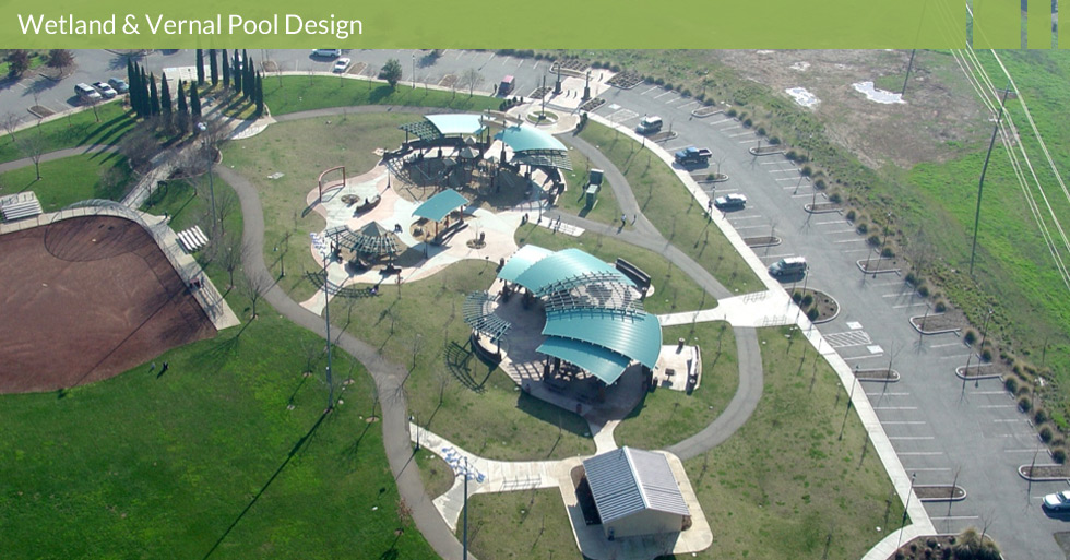 Melton Design Group designed Wildwood Park in Chico, CA. Melton Design Group had to preserve the seasonal wetlands and vernal pools of Upper Bidwell Park.