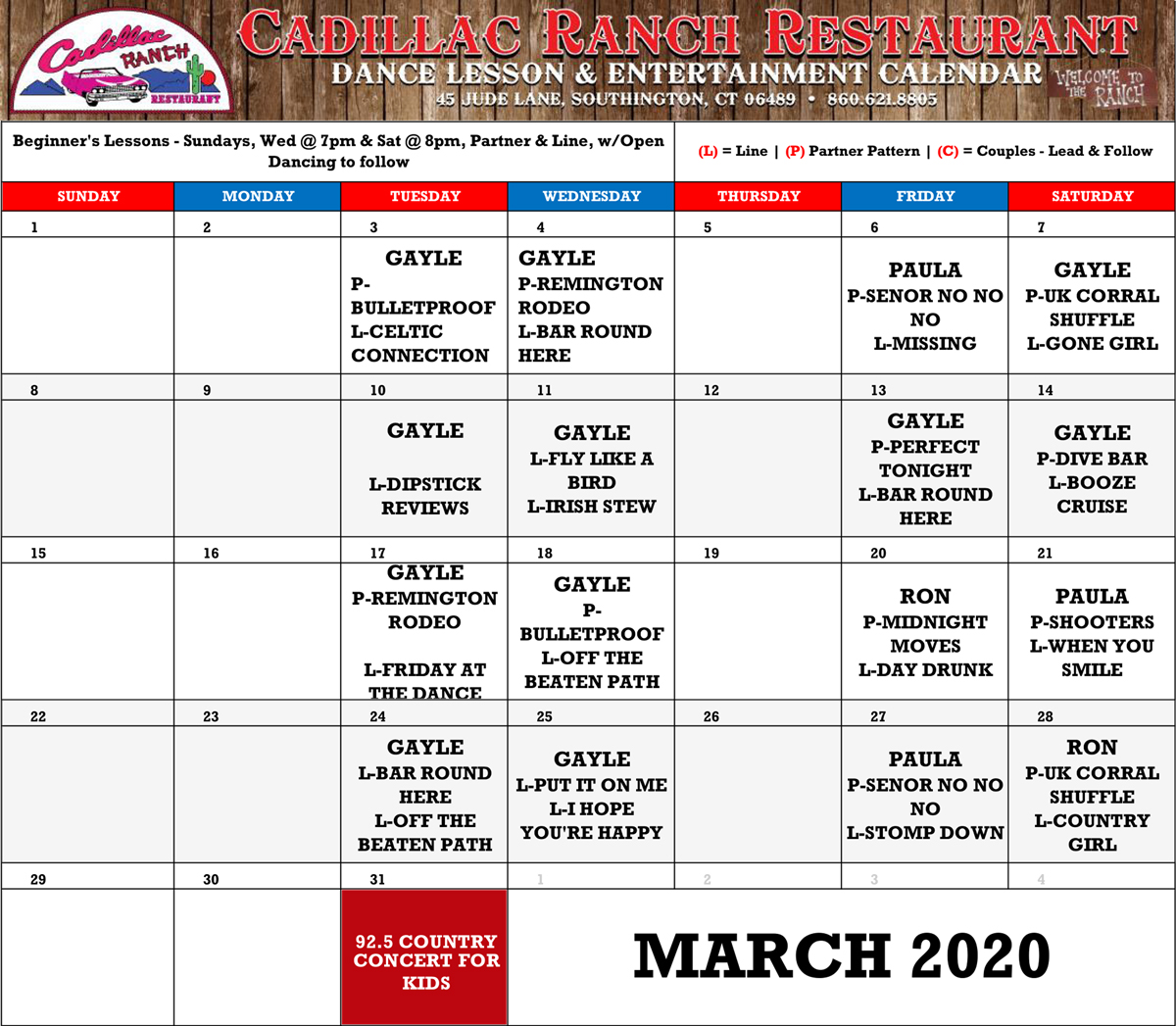 2020-3-Cadillac-Ranch-Schedule