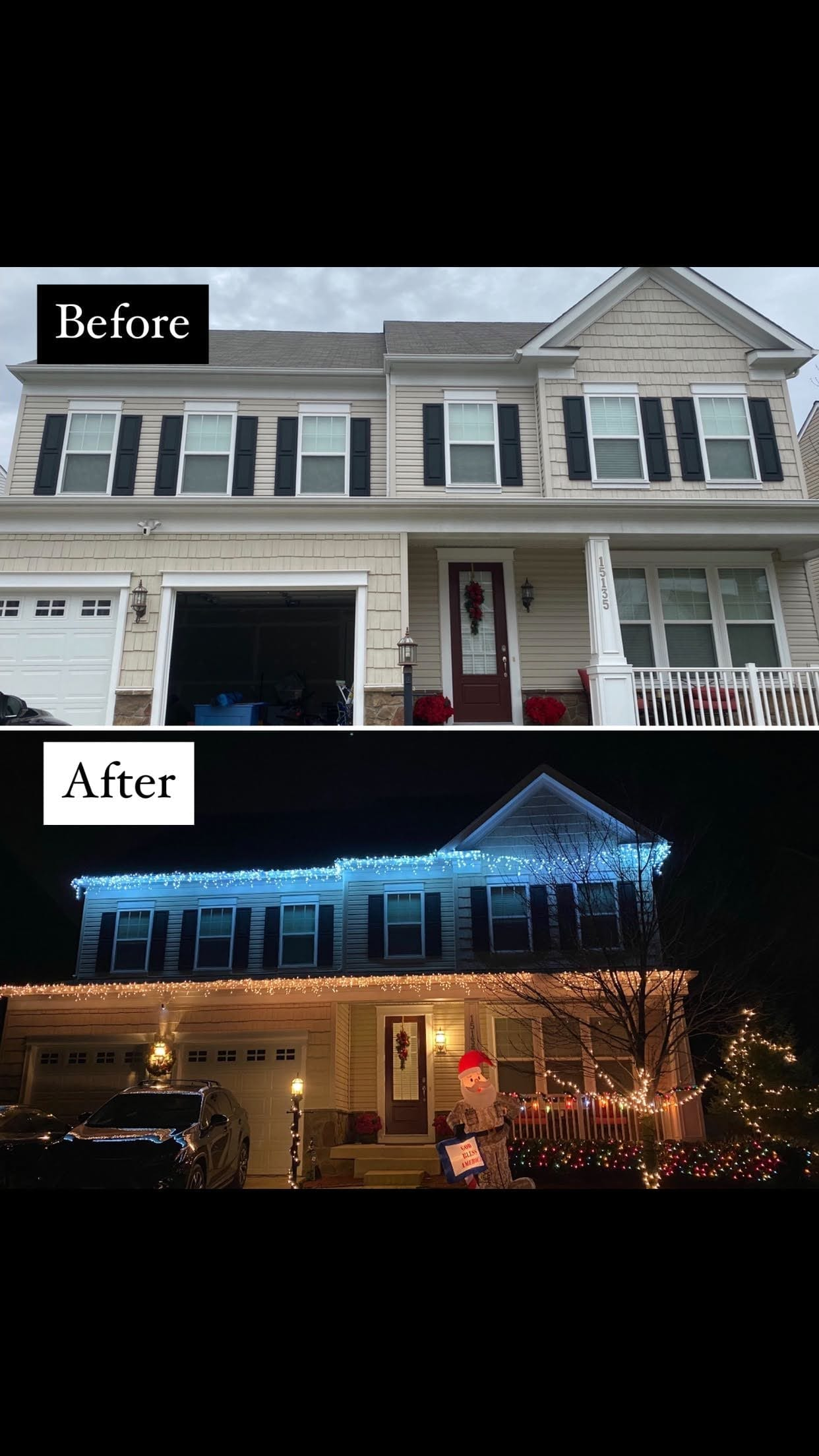 Christmas Lights Before and After