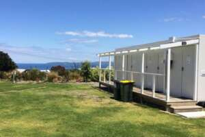Bathroom facilities for cabins and motorhome guests at Leigh Central