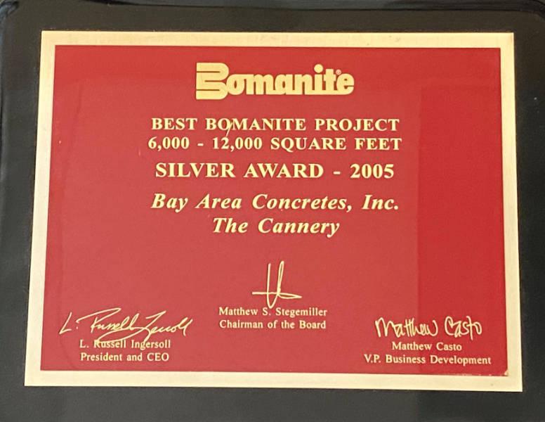 Bomanite Award Best Bomanite Project 6000-12000 SF Silver Award