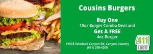 Cousins Burgers – Buy A 10oz Burger Combo And Get A Free 4oz Burger Deal