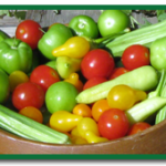 Vegetables -cherry tomatoes and peppers www.shakeandgrow.com