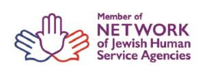 Outline of three hands fanning out. Text says: Member of the Network of Jewish Human Service Agencies