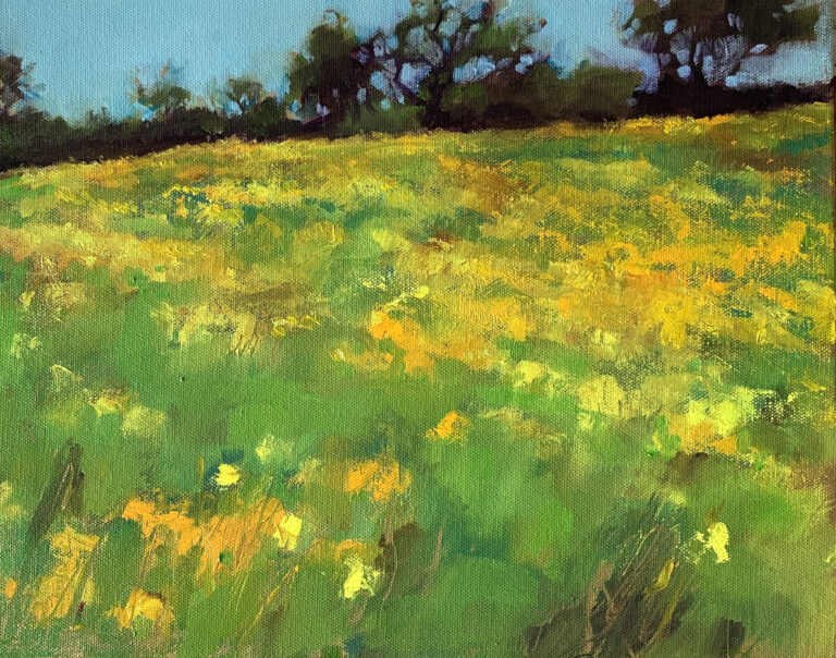 """Flowers on Hill, 12"""" x 16"""""""