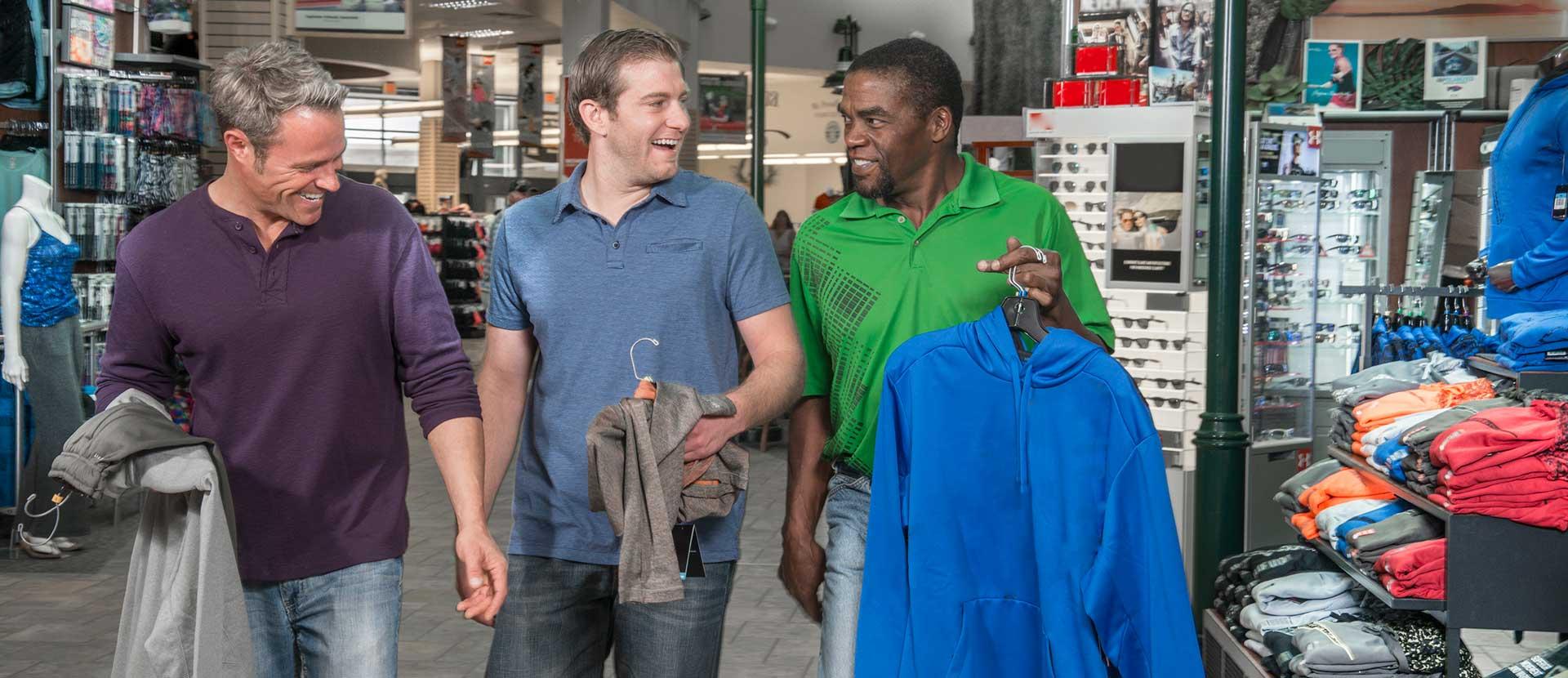 Men shopping at the Fox River Mall