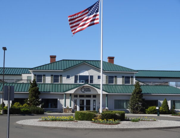 flag and building