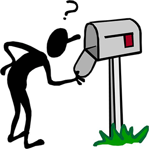 illustration of person looking in empty mailbox