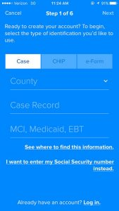 Step 1 of myCOMPASS PA mobile app account set up