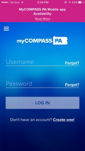 myCOMPASS PA mobile app log in screen
