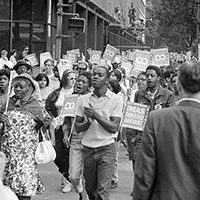 Demonstrators participating in the Poor People's March at Lafayette Park and on Connecticut Avenue, Washington, D.C. , 1963 (Warren K. Leffler, U.S. News & World Report via United States Library of Congress/Wikimedia