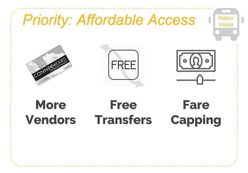 Riders' Vision Priority: Affordable Access -- More Vendors, Free Transfers Fare Capping