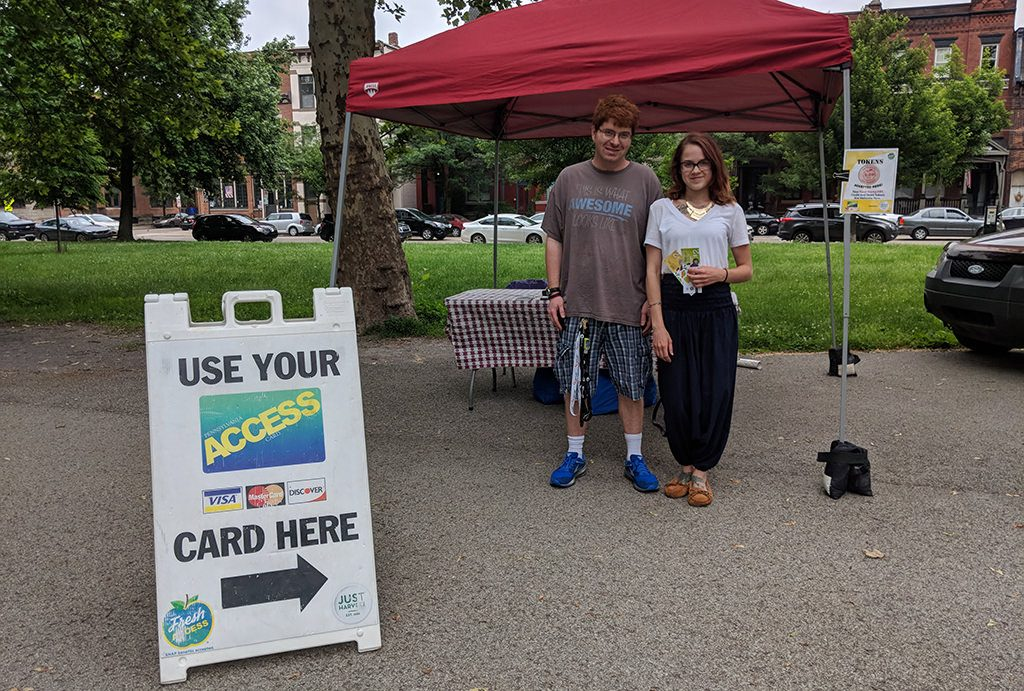 Mark and Amanda at our Fresh Access tent at the North Side Farmres Market, June 2018