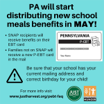 PA will start distributing new school meals benefits in May!