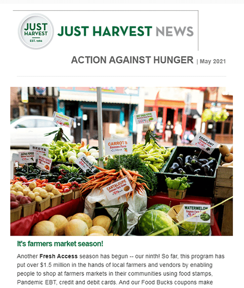 Just Harvest e-Newsletter