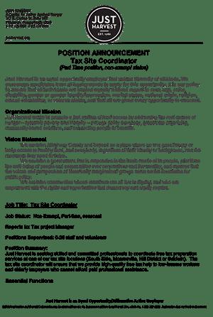 Tax Site Coordinator job announcement