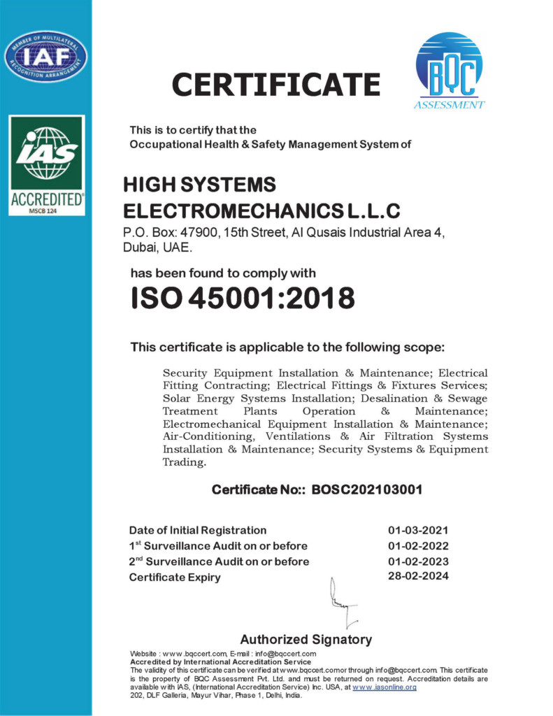 iso certification 45001