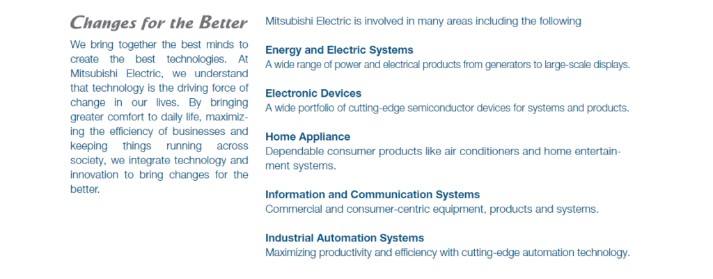 Mitsubishi Electric page First part