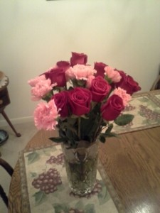 Flowers my husband brought home for me, right after I told him the exciting news.