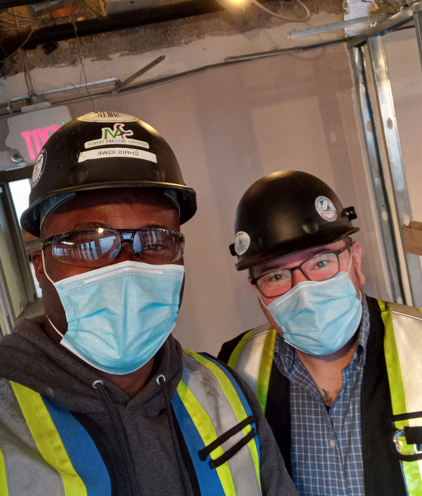 Employees in masks