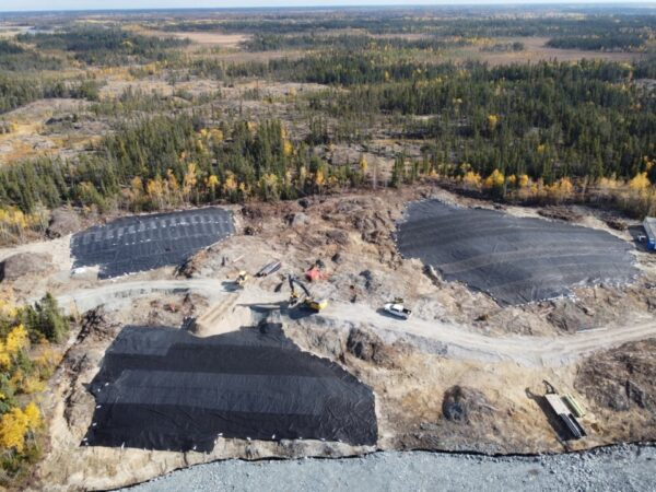 An aerial photo shows work at the Newcor mine site near Creighton, as of last month.