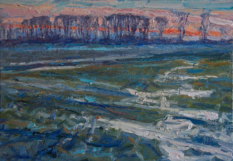 Fourteen Degree Sunset—Flooded Swale IV
