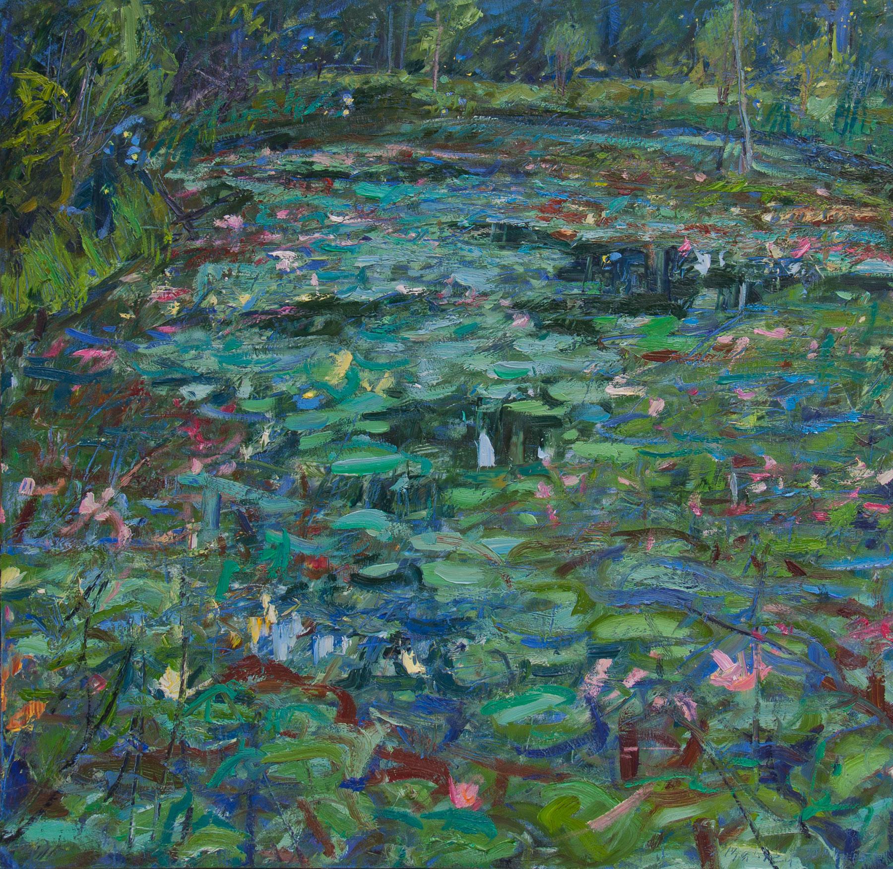 Lily Pond, Dusk, Lightning Bugs
