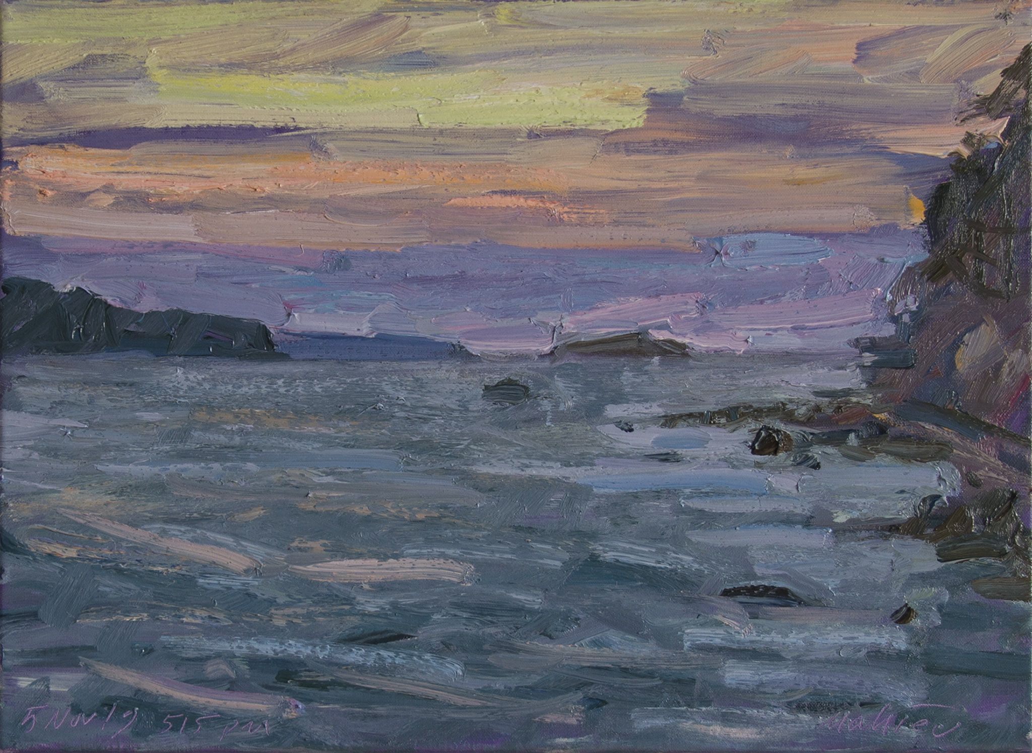 November Sunset in Shades of Violet and Coral